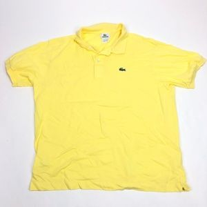 Mens L 6 Lacoste Polo Shirt Yellow Solid Alligator